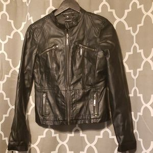 JouJou Faux Leather Black Moto Jacket